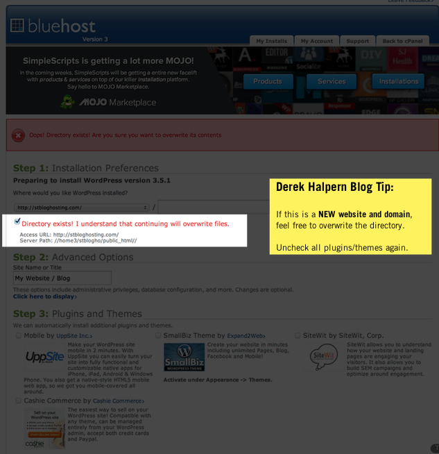 Install BlueHost WordPress new blog