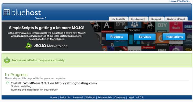 Install BlueHost WordPress new blog