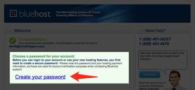 Blue Host Password Creation