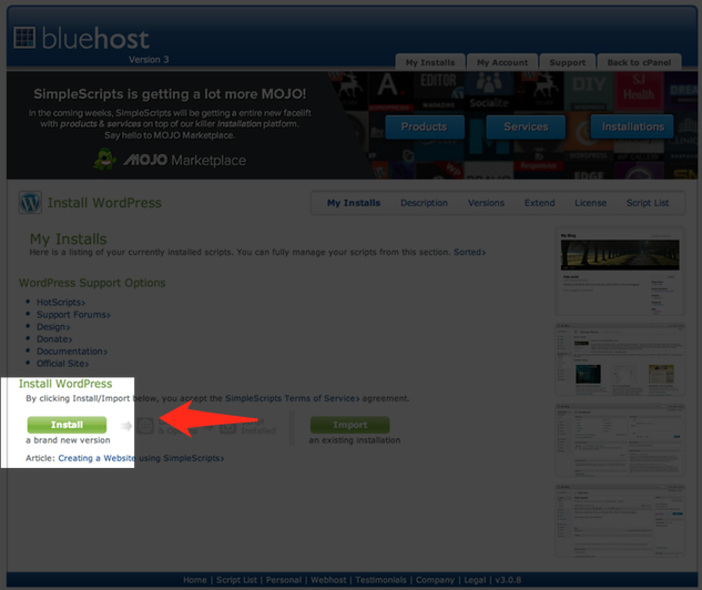 Start your BlueHost WordPress installation like this