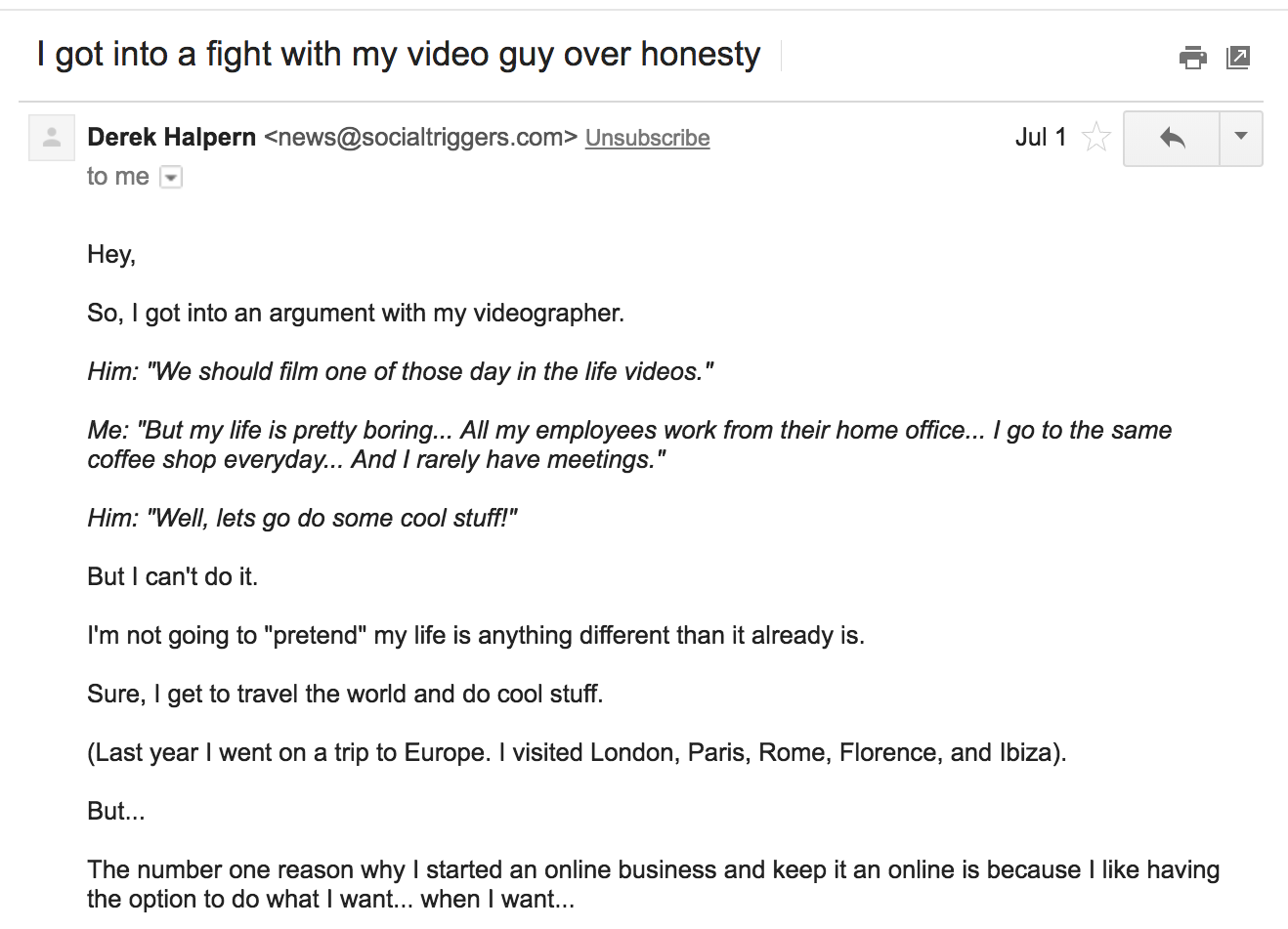 Screenshot of email about fight with my videographer