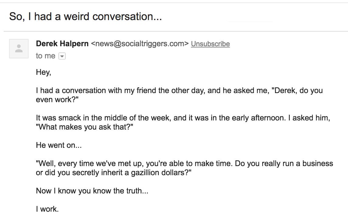 weird conversation email