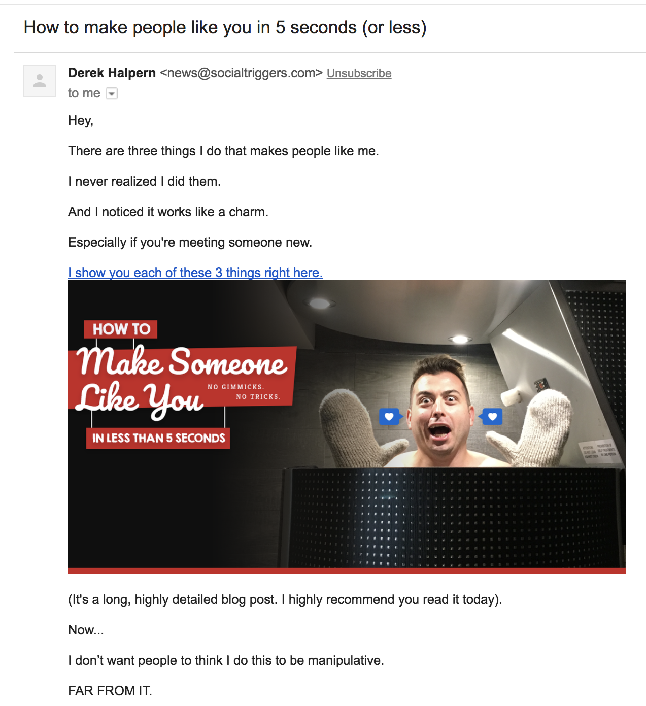 Screenshot of email how to make people like you