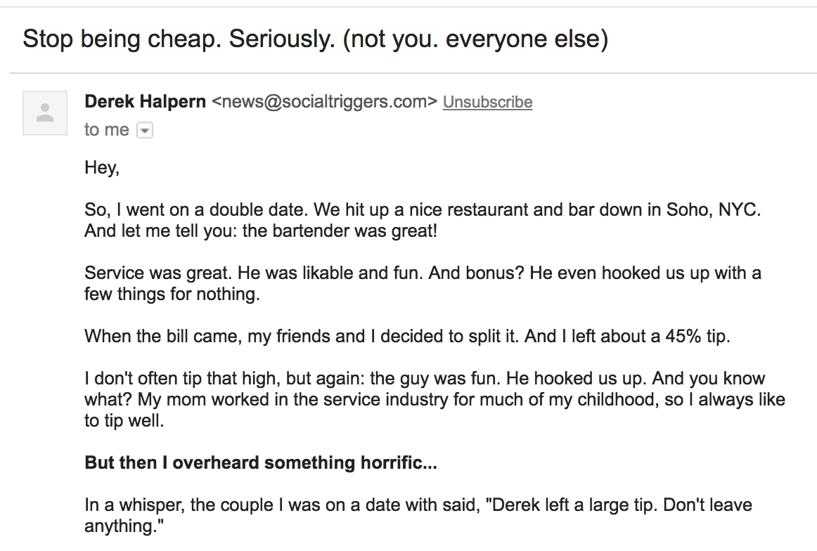 Screenshot of email about cheap people