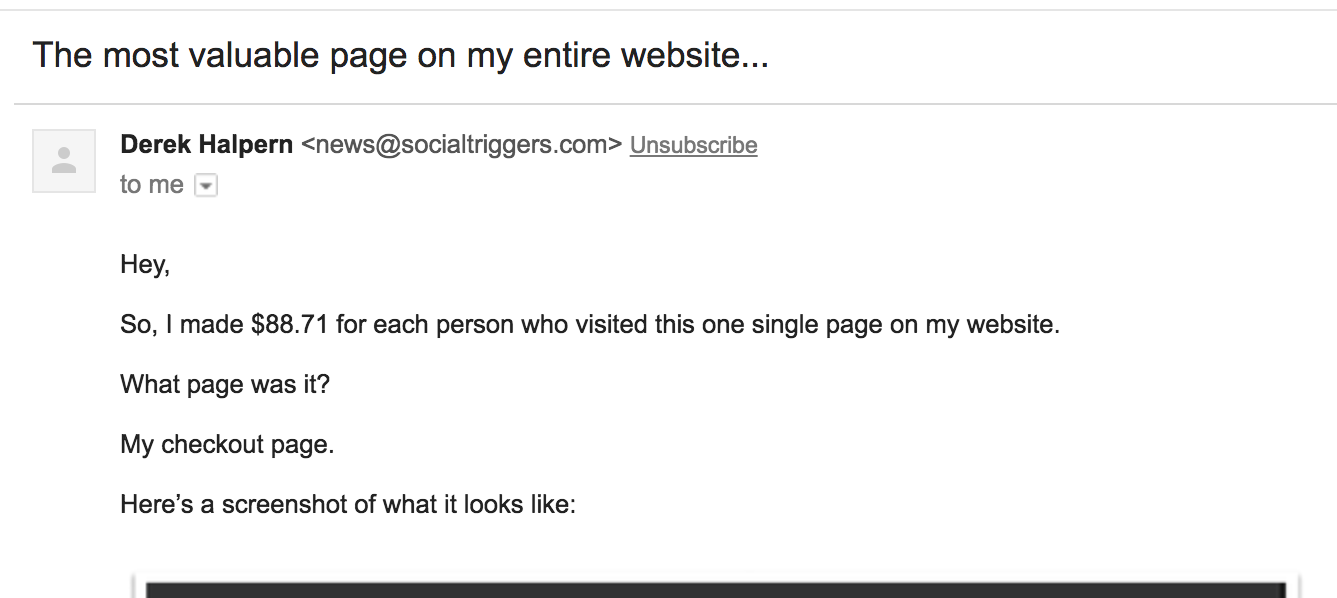 screenshot of most valuable page email