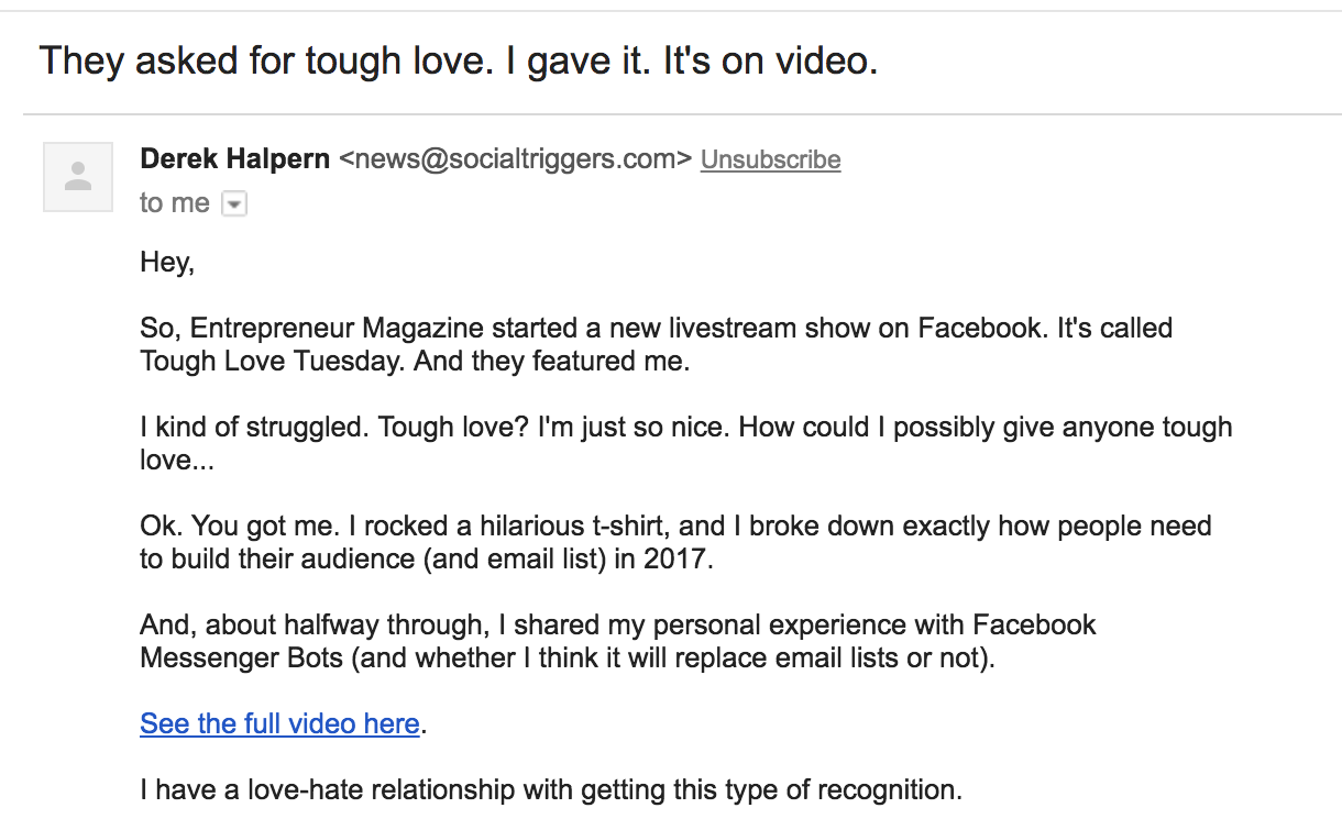 Screenshot of email tough love email