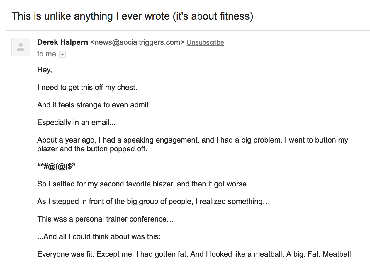 Screenshot of email about fitness