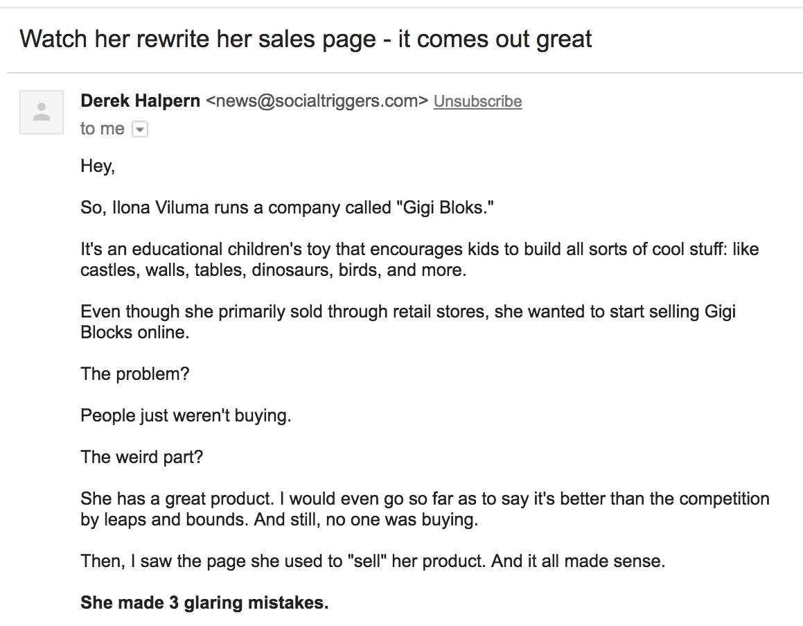 rewrite sales page screenshot email