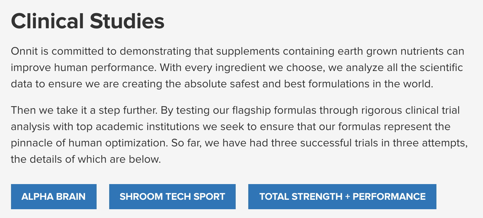 Onnit clinical studies