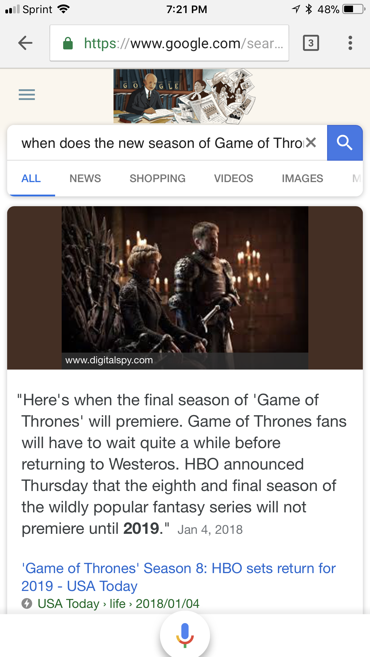 screenshot voice search google game of thrones