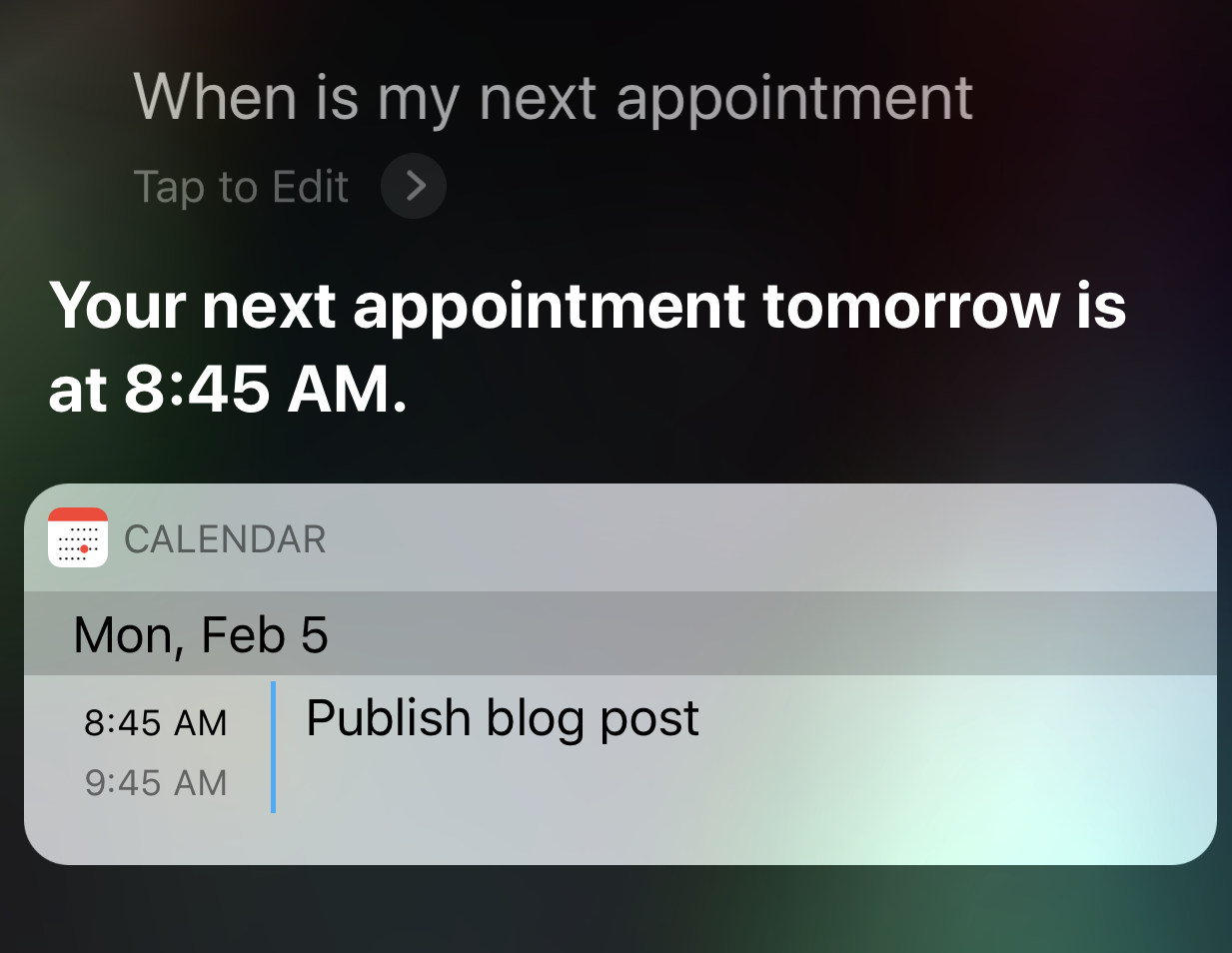 screenshot voice search siri next appointment