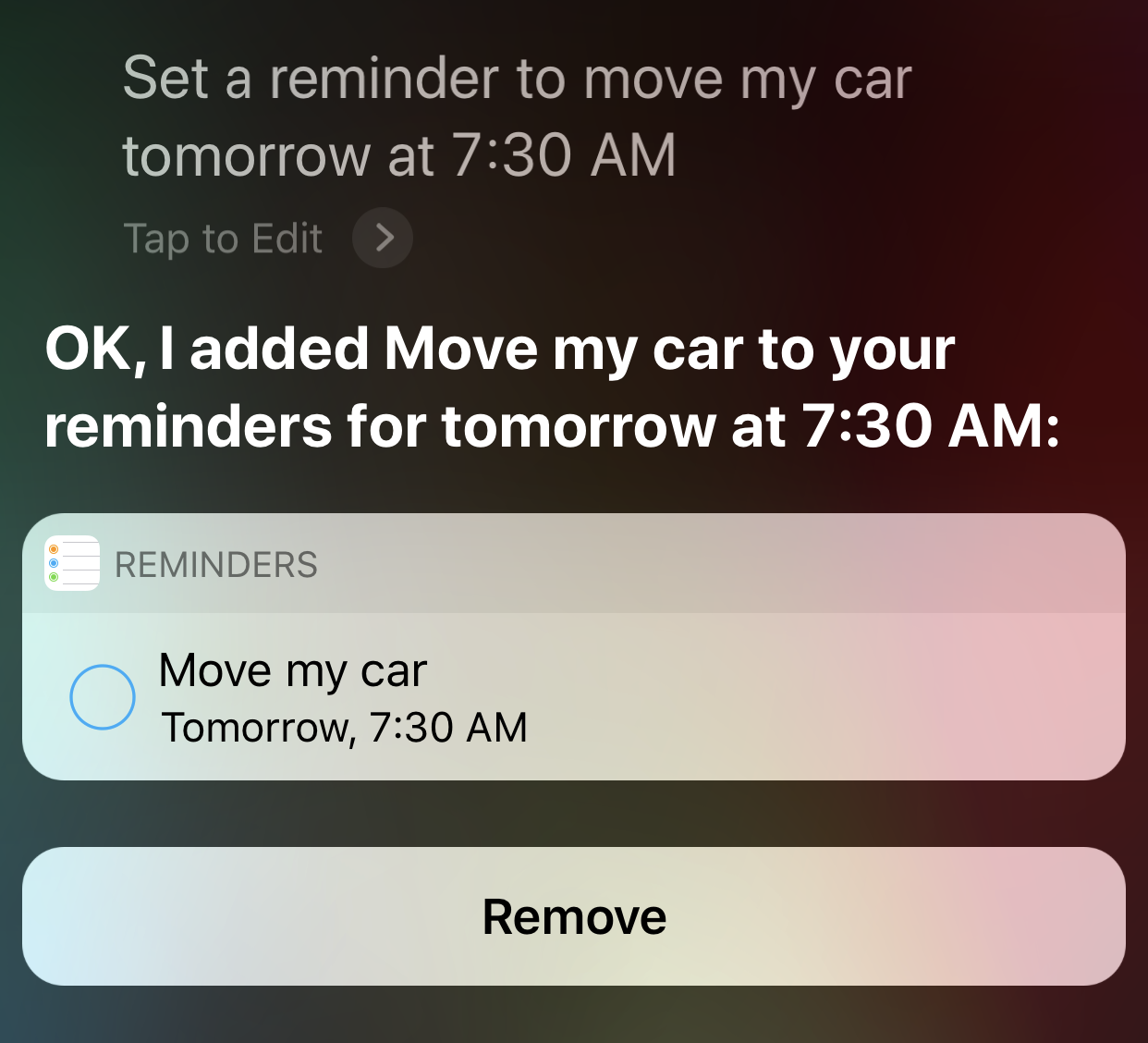 screenshot voice search siri set reminder