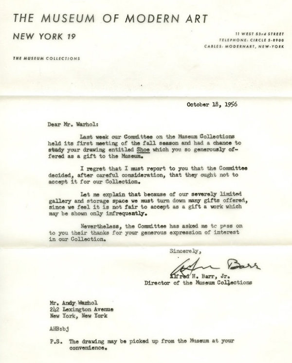 andy warhol moma rejection letter