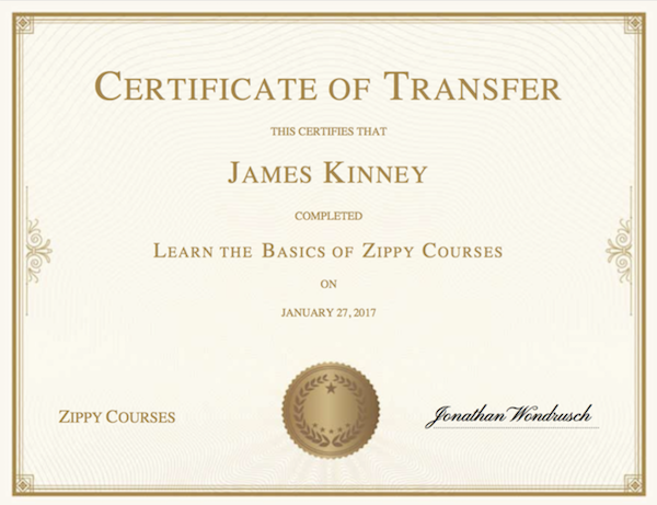 A certificate of completion (created with Zippy Courses)